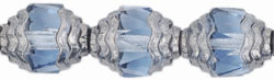 Antique Style Faceted 10 x 8mm - Oval Silver : Lt Sapphire