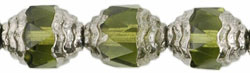 Antique Style Facetted 10/8mm - Oval Silver : Olivine