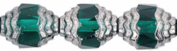 Antique Style Faceted 10 x 8mm - Oval Silver : Emerald