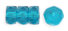 Fire-Polish 6 x 3mm - Rondelle : Teal