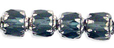 Antique Style Octagonal 6mm - Silver : Montana Blue