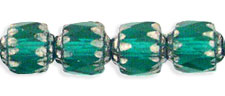 Antique Style Octagonal 6mm - Silver : Emerald