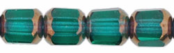 Antique Style Octagonal 6mm - Bronze (smooth) : Emerald