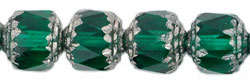 Antique Style Octagonal 8mm - Silver : Emerald