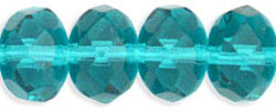 Gem-Cut Rondelle 9 x 6mm : Lt Teal