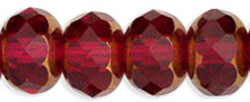 Gemstone Donut 9/6mm : Copper - Fuchsia