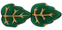 Large Vertical Leaves 15 x 12mm : Opaque Green - Gold Inlay