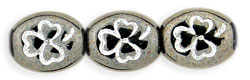 Oval Clovers 10 x 9mm : Hematite - White Inlay