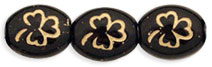 Oval Clovers 10 x 9mm : Jet - Gold Inlay