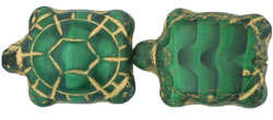 Turtles 19 x 14mm : Opaque Green w/Black - Gold Inlay
