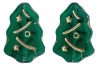Christmas Trees 17 x 7mm : Emerald - Gold Inlay
