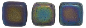 CzechMates Tile Bead 6mm : Matte - Iris - Green