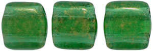 CzechMates Tile Bead 6mm : Gold Marbled - Green Emerald