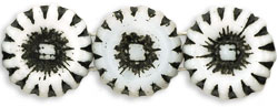 Two Hole Sunflowers 12mm : Alabaster White - Jet Inlay