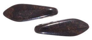 CzechMates Two Hole Daggers 16 x 5mm : Jet - Marbled Dk Bronze