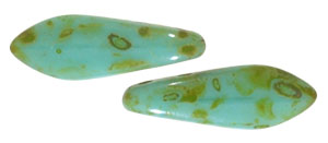 CzechMates Two Hole Daggers 16 x 5mm : Opaque Turquoise - Picasso