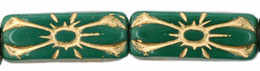 Rectangle Flower 20 x 8mm : Fern Green - Gold Inlay