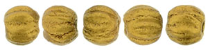 Melon Round 3mm : Matte - Metallic Antique Gold