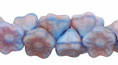 Button Style Bead Flower 7mm : Opaque Blue/Pink