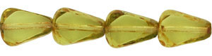 Chunky Table Cut Drop Nugget 10/8mm : Olivine - Picasso