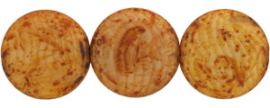 Medallion Bead 28mm : Crystal/Beige - Matte Picasso