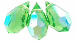 M.C. Beads 6/10mm - Teardrop : Peridot AB
