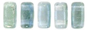 CzechMates Bricks 6 x 3mm : Dual Lustered - Blue/Green