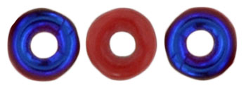 O-Bead 4 x 1mm : Blue Iris - Opaque Red