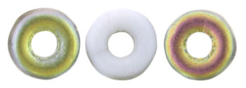 O-Bead 4 x 1mm : Matte - Opaque White - Vitral