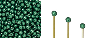 Finial Half-Drilled Round Bead 2mm : ColorTrends: Saturated Metallic Martini Olive