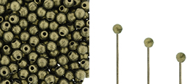 Finial Half-Drilled Round Bead 2mm : Metallic Suede - Gold