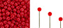 Finial Half-Drilled Round Bead 2mm : Opaque Red