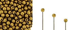 Finial Half-Drilled Round Bead 2mm : Matte - Metallic Antique Gold