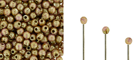 Finial Half-Drilled Round Bead 2mm : Luster - Opaque Rose/Gold Topaz