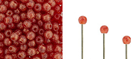 Finial Half-Drilled Round Bead 2mm : Ruby Antique Shimmer
