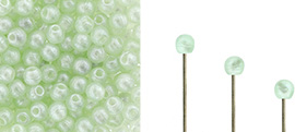 Finial Half-Drilled Round Bead 2mm : Metal Luster - Peridot