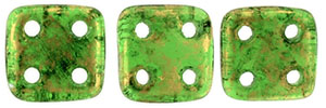 CzechMates QuadraTile 6mm : Gold Marbled - Green Emerald