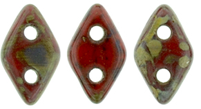CzechMates Diamond 6.5 x 4mm : Opaque Red - Picasso