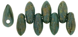 Mini Dagger Beads 2.5/6 : Persian Turquoise - Bronze Picasso