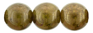 Round Beads 8mm : Yellow Coral - Bronze Picasso