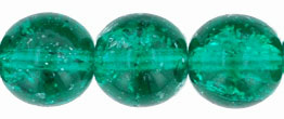 Round Crackle Beads 10mm: Emerald