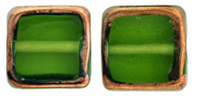 Stained Glass Squares 14/13 mm: Olivine