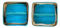 Stained Glass Squares 14/13 mm: Aquamarine