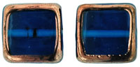 Stained Glass Squares 14/13 mm: Capri Blue