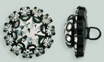 Rhinestone Button - Flower Round 19mm : Black - Crystal