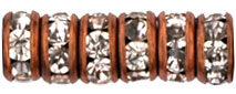 Rhinestone Rondelles 4.5mm : Antique Copper - Crystal