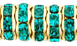Rhinestone Rondelles 8mm : Gold - Teal