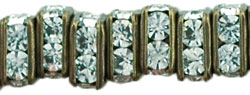 Rhinestone Squaredelles 4.5mm : Antique Brass - Crystal