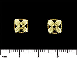 Square Bead Cap with Hearts 9/3mm : Brass