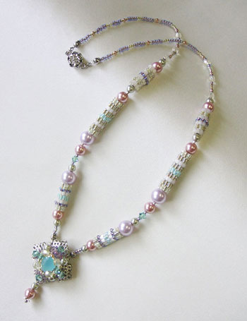 TOHO - Bead Artistry Kits :Necklace with Faceted Glass Stone - Purple